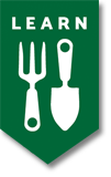 A graphic of a garden fork and trowel